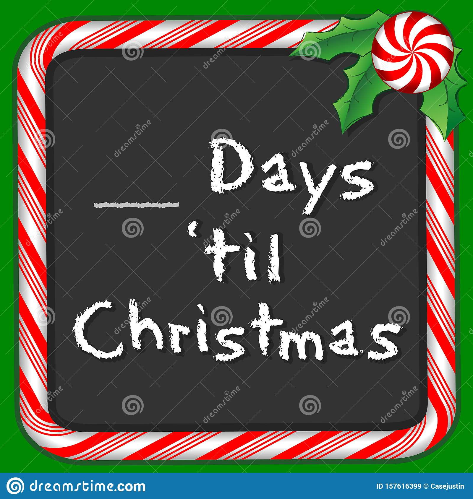Christmas Holiday Chalkboard Count The Days Peppermint