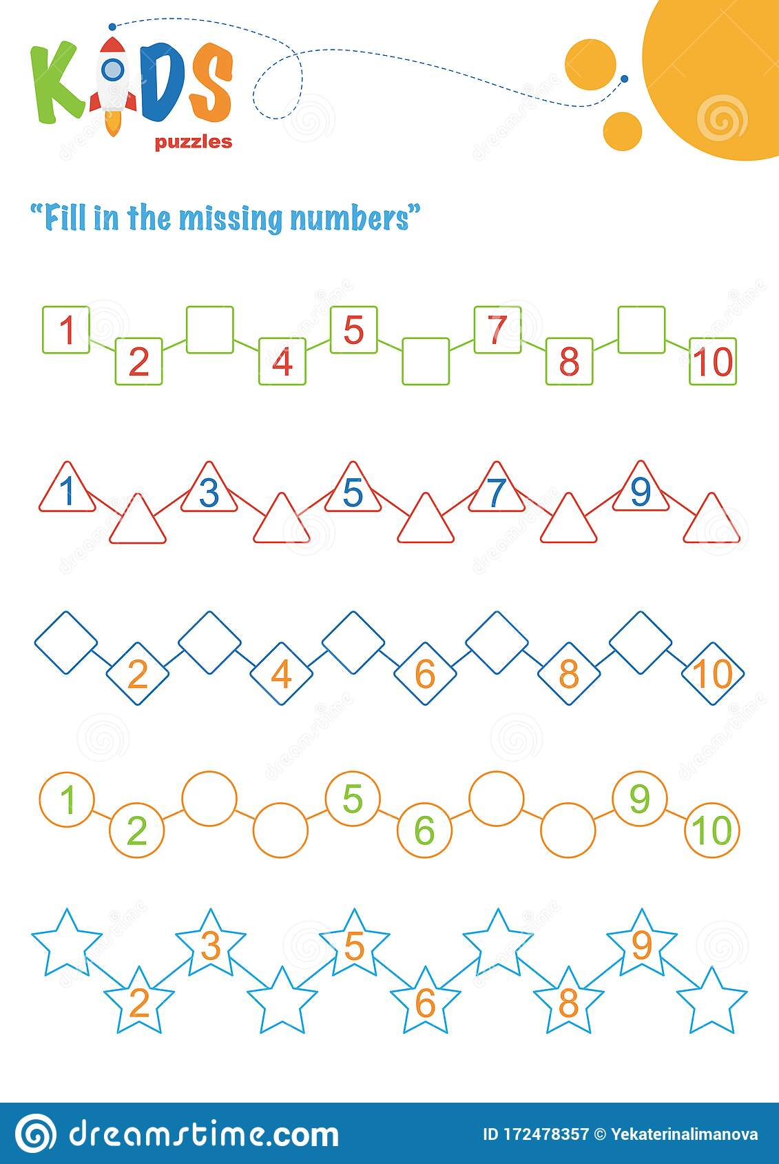 Fill In The Missing Numbers Counting Worksheet Stock