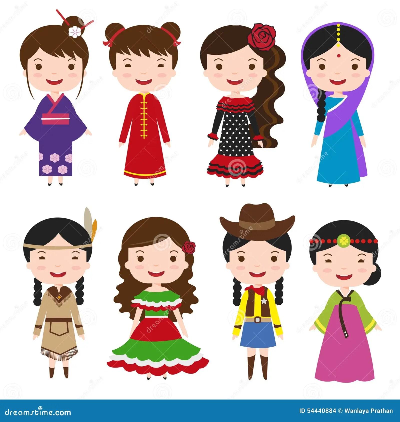 Filles De Robe Dans Des Costumes Traditionnels