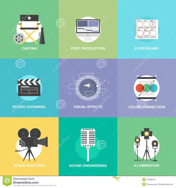 Film Shooting And Production Flat Icons Set Stock Vector ...