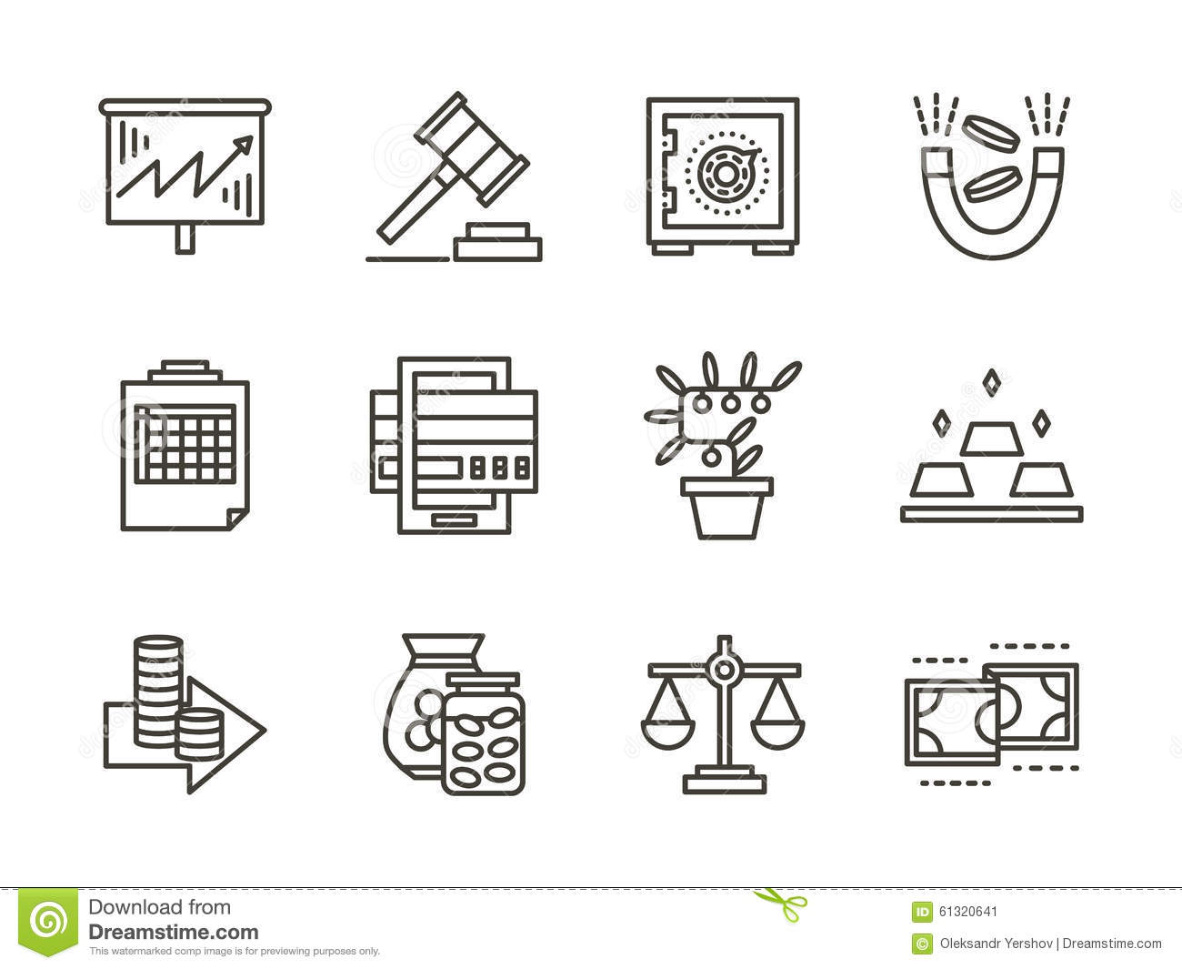 Finance Black Line Icons Set Stock Illustration
