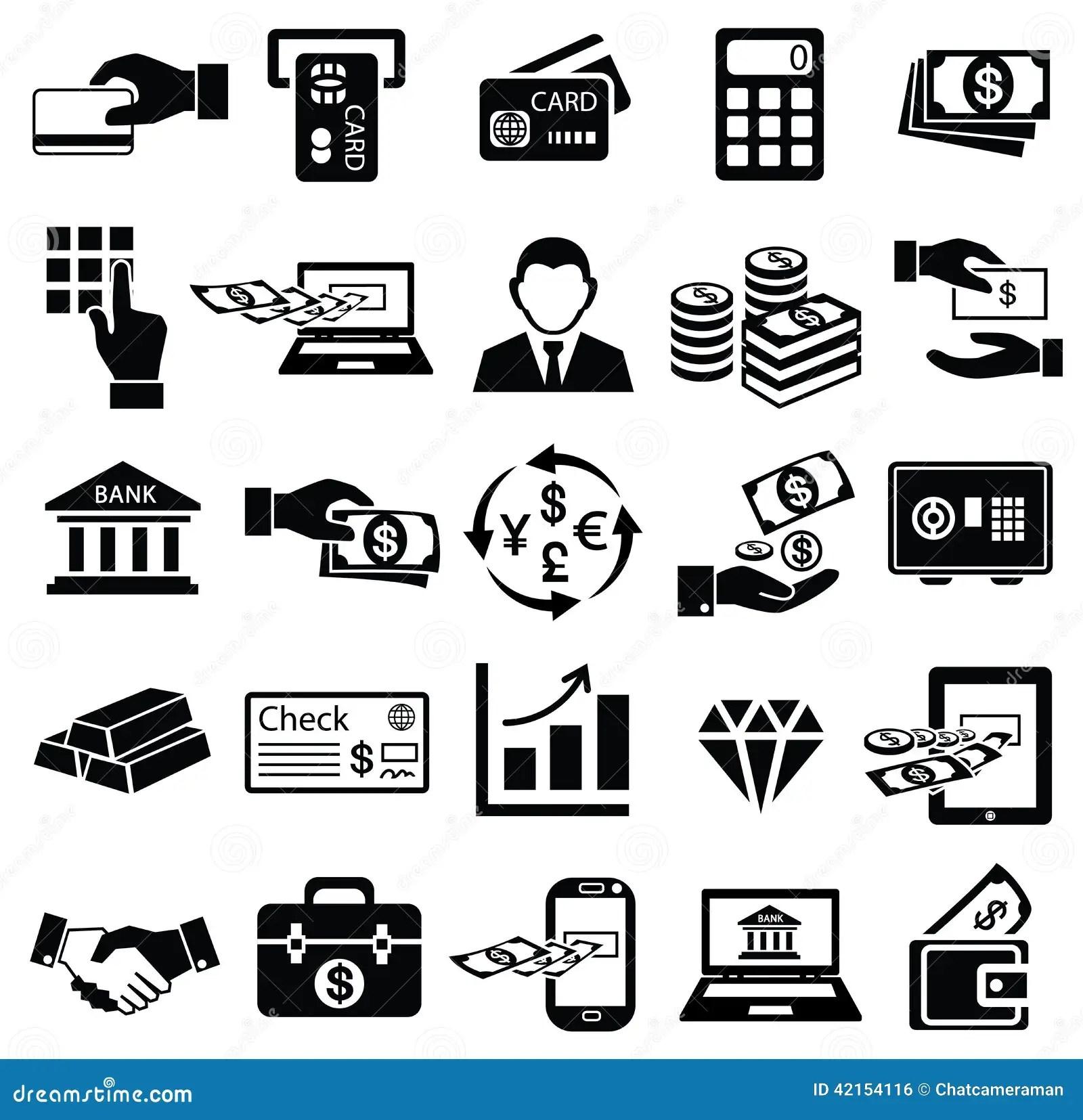 Finance Money Icon Set Stock Vector Illustration Of