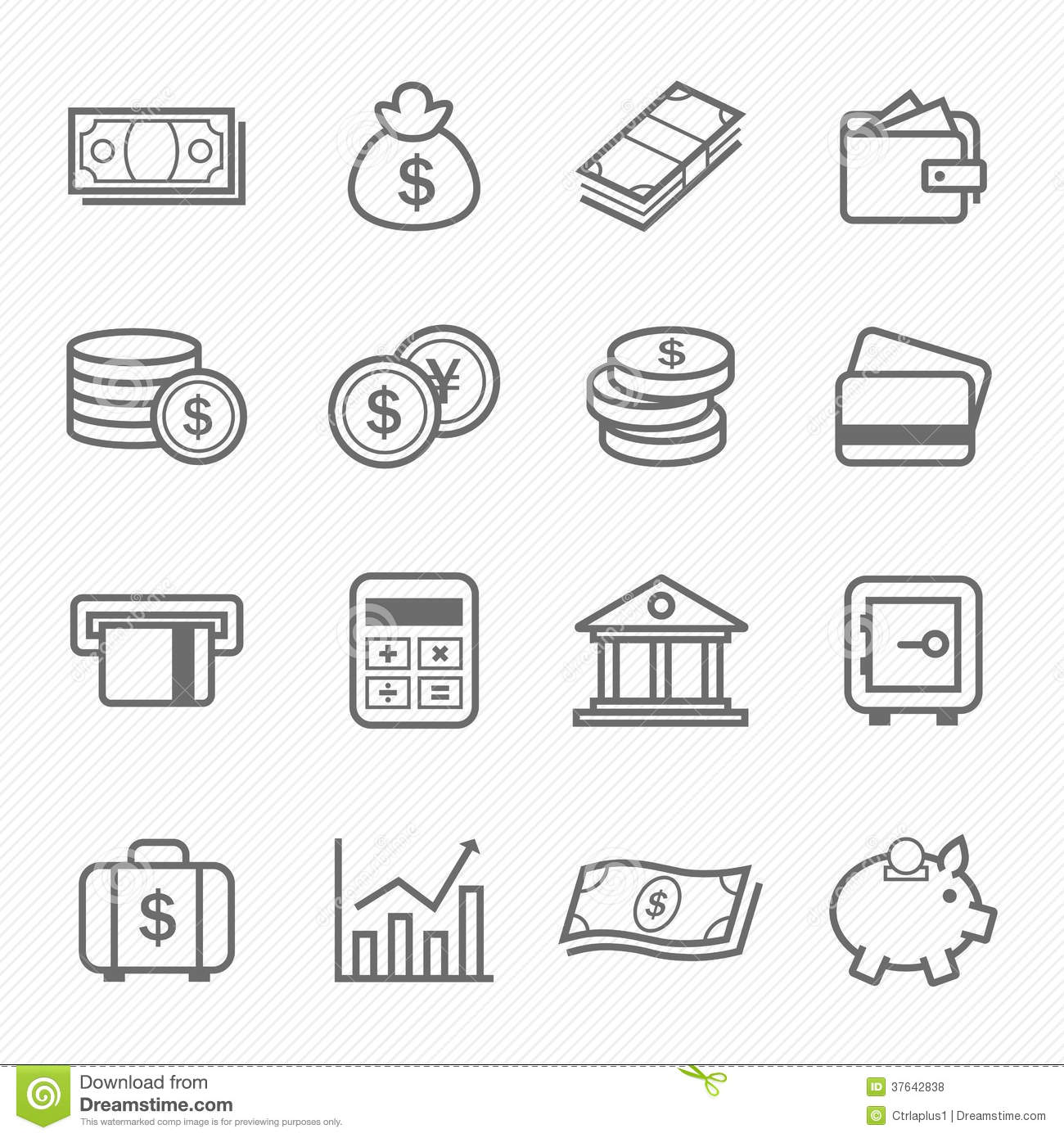 Finance And Money Outline Stroke Symbol Icons Royalty Free