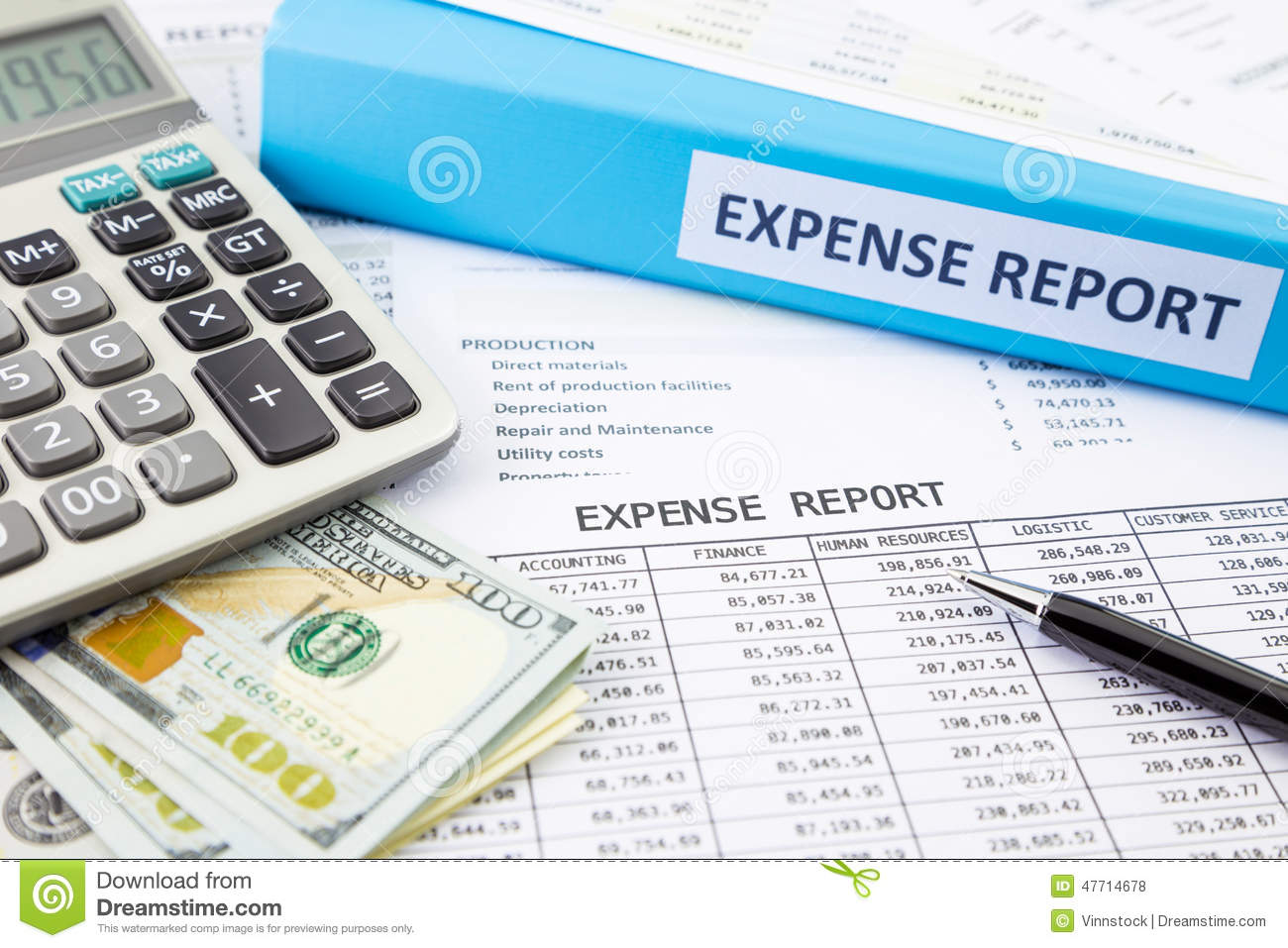 Financial Expense Report With Money Stock Photo Image 47714678