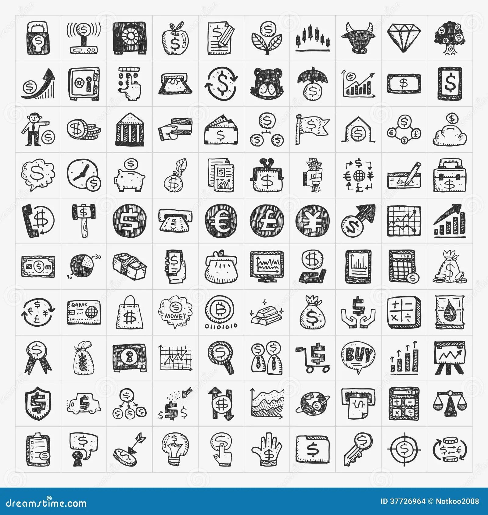 Finansiella Symboler For Klotter Vektor Illustrationer