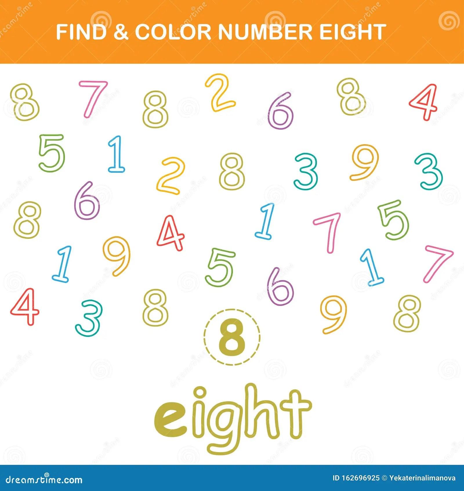Find Amp Color Number 8 Worksheet Stock Vector