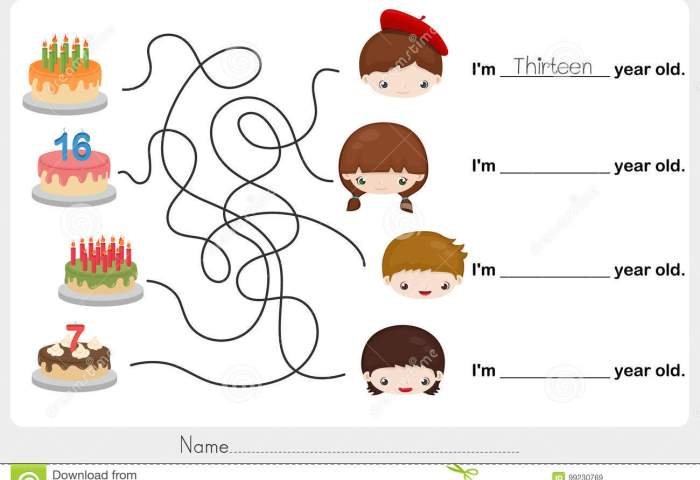 Find Birthday Cake And Write The Correct Answer Stock Vector