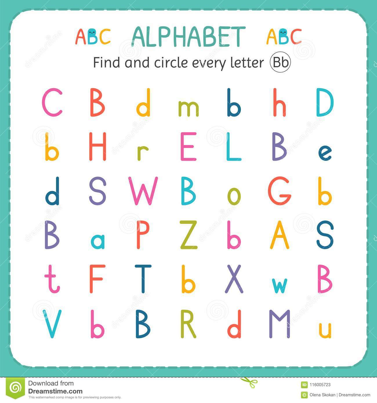 Find And Circle Every Letter B Worksheet For Kindergarten And Preschool Exercises For Children