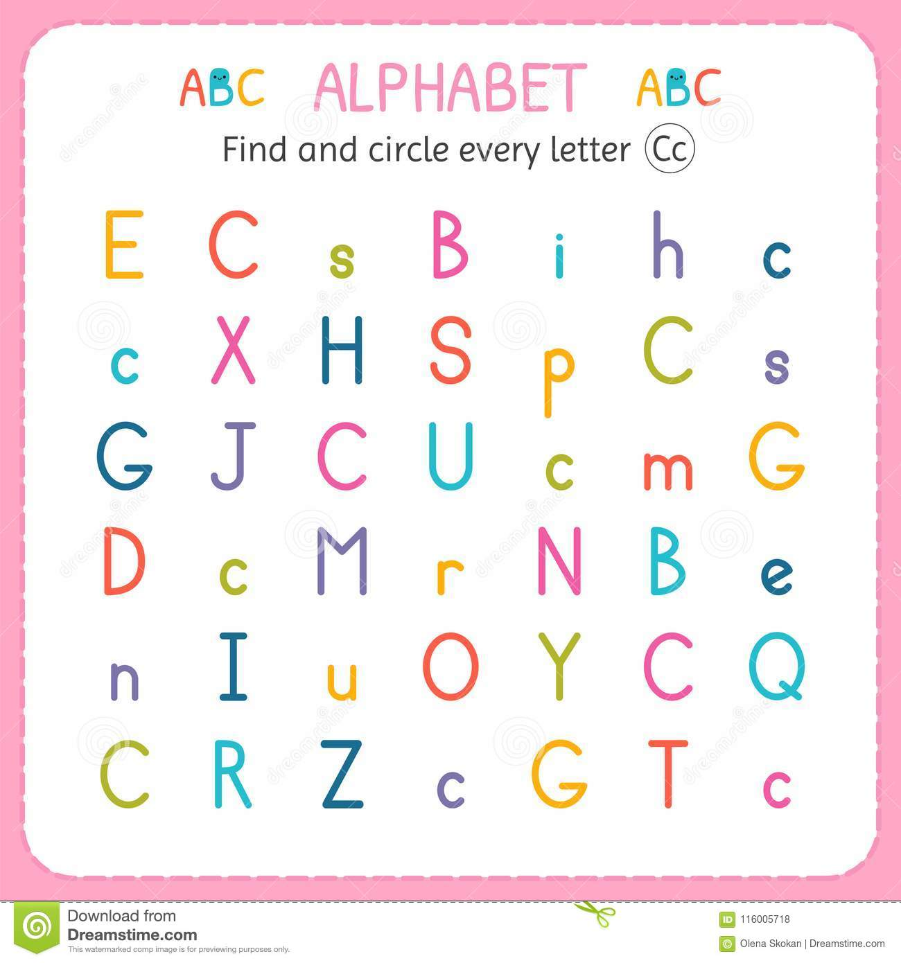 Find And Circle Every Letter C Worksheet For Kindergarten And Preschool Exercises For Children
