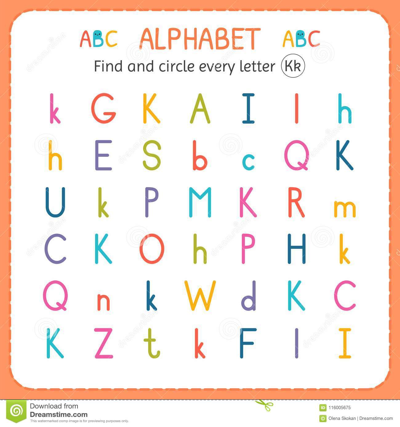Find And Circle Every Letter K Worksheet For Kindergarten