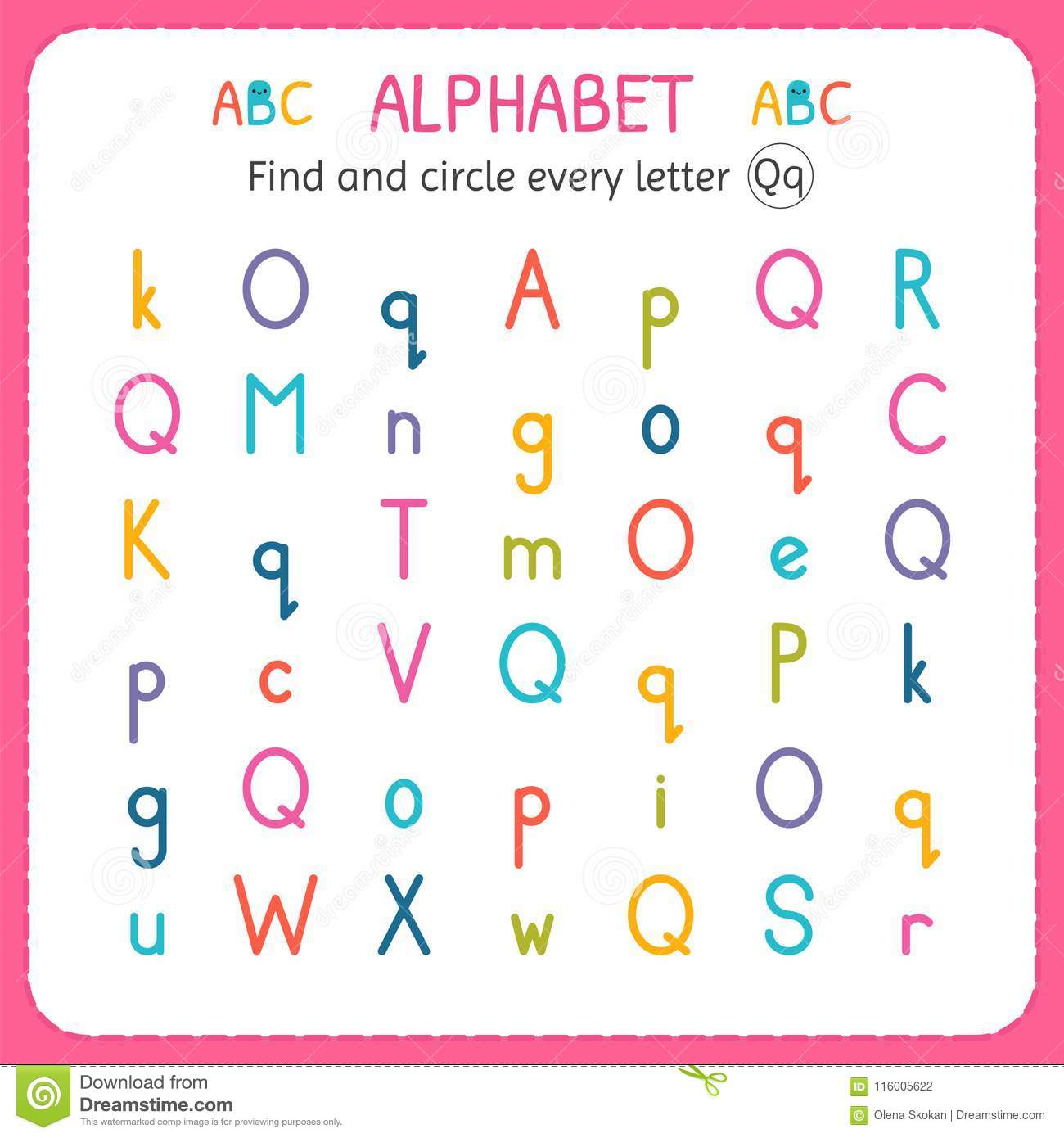 Find And Circle Every Letter Q Worksheet For Kindergarten