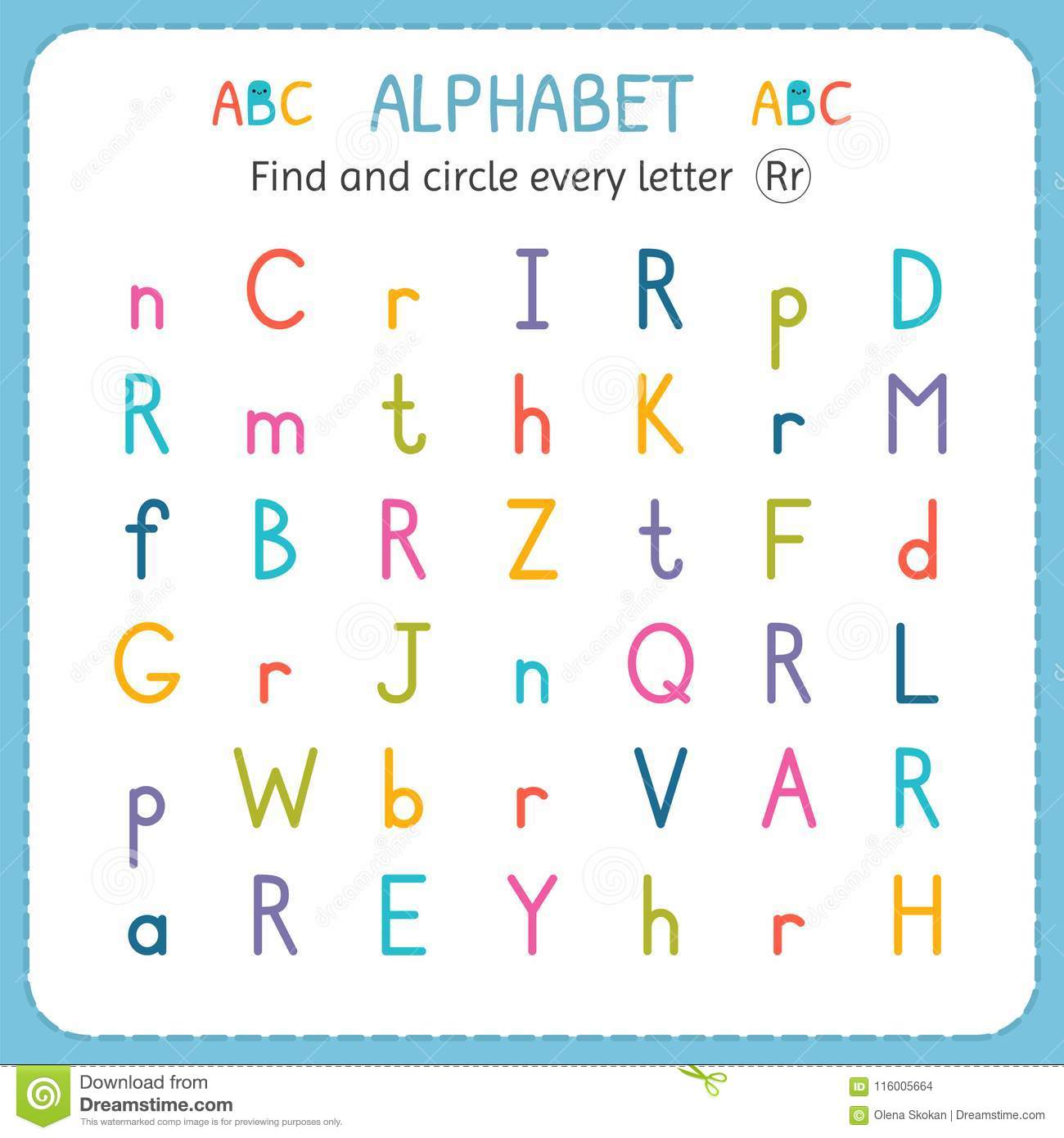 Find And Circle Every Letter R Worksheet For Kindergarten