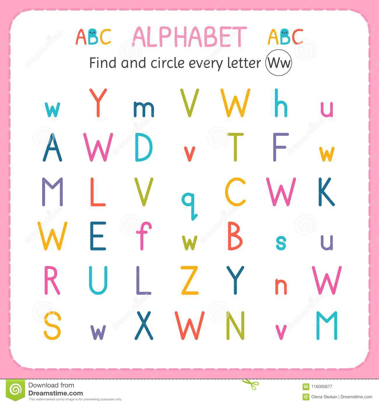 Find And Circle Every Letter W Worksheet For Kindergarten And Preschool Exercises For Children