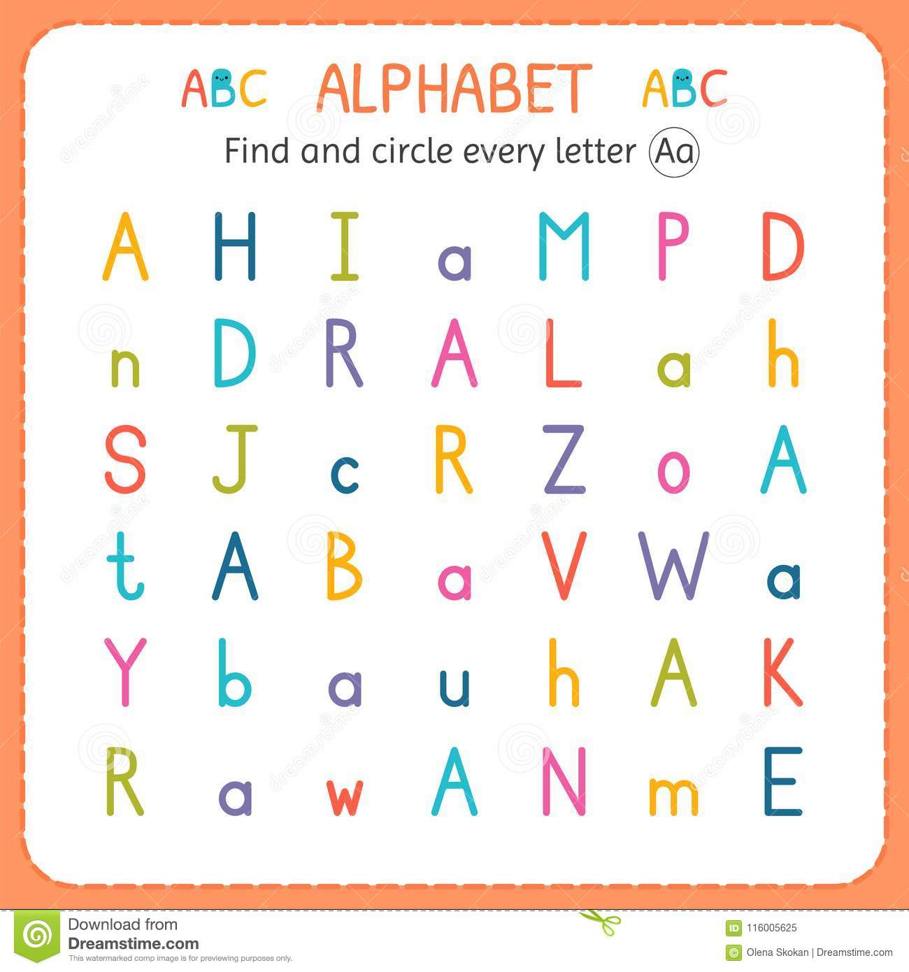 Find And Circle Every Letter A Worksheet For Kindergarten