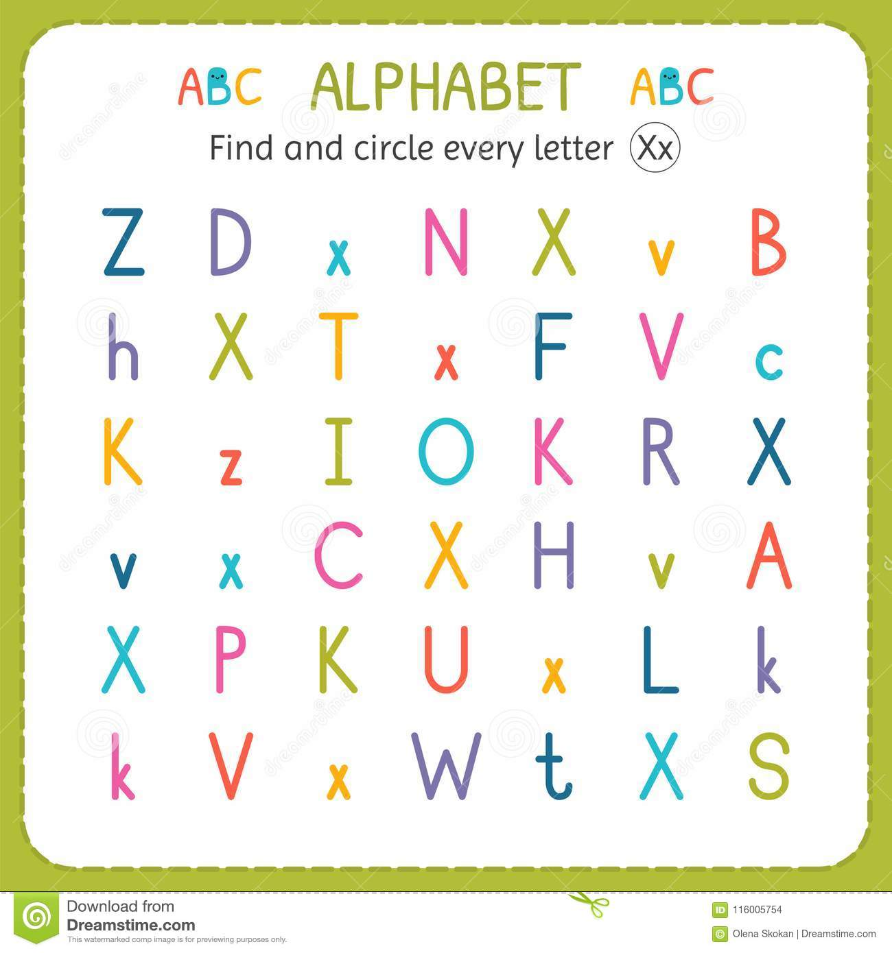 Find And Circle Every Letter X Worksheet For Kindergarten