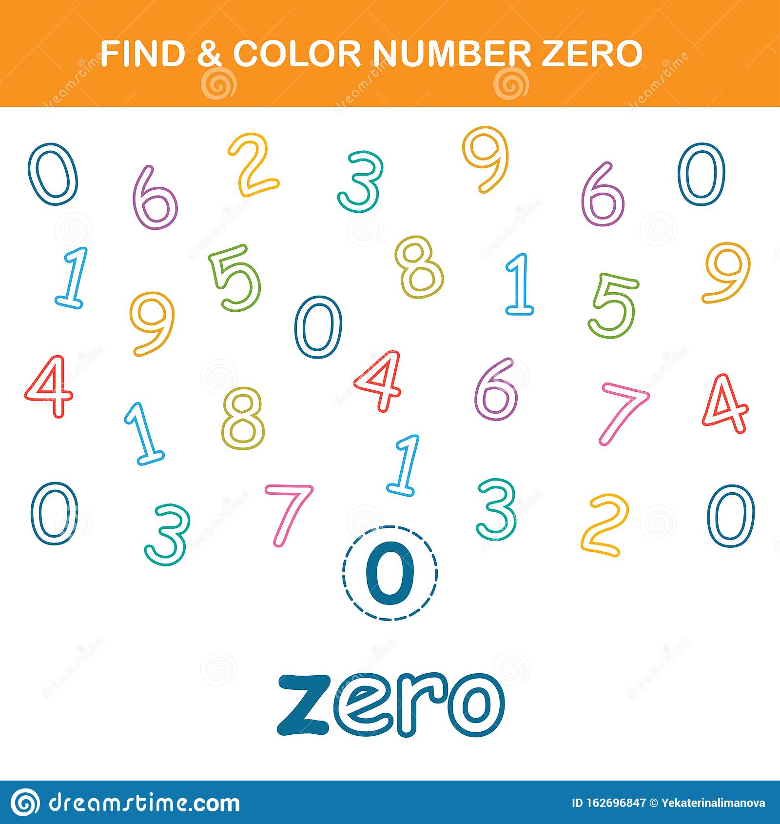 Find Amp Color Number Zero Worksheet Stock Vector
