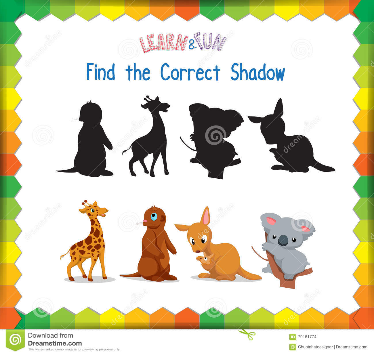Find The Correct Animals Shadow Vector Illustration