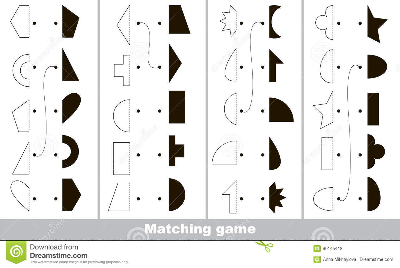 Find Correct Shadow For Each Object The Kid Game Stock