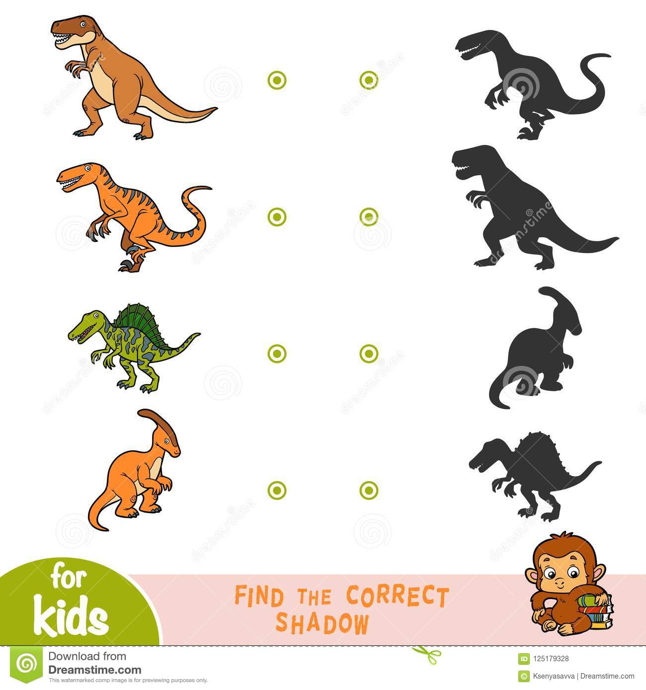 Find The Correct Shadow Education Game Set Of Cartoon