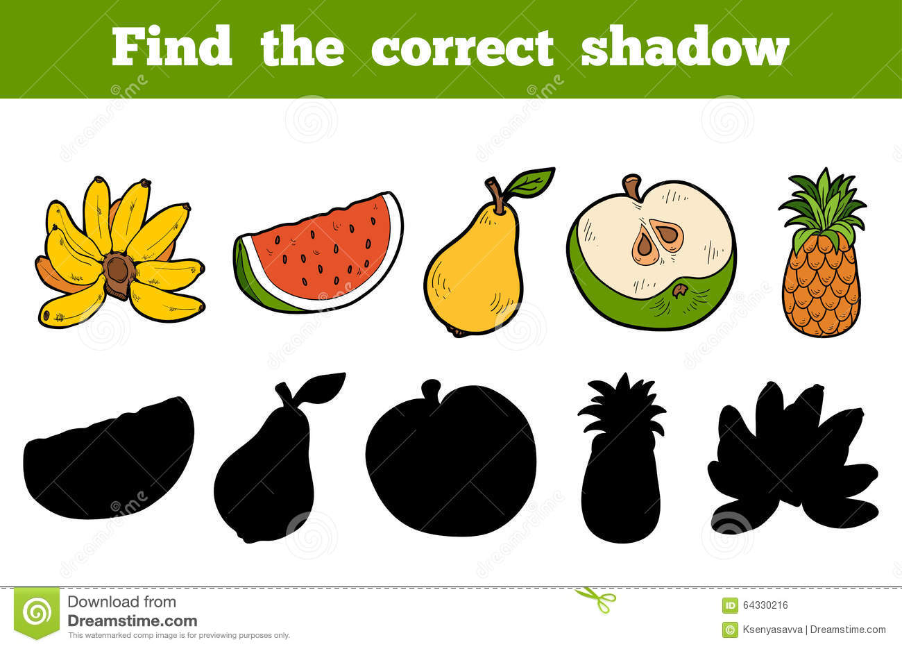 Find The Correct Shadow Fruits Stock Vector