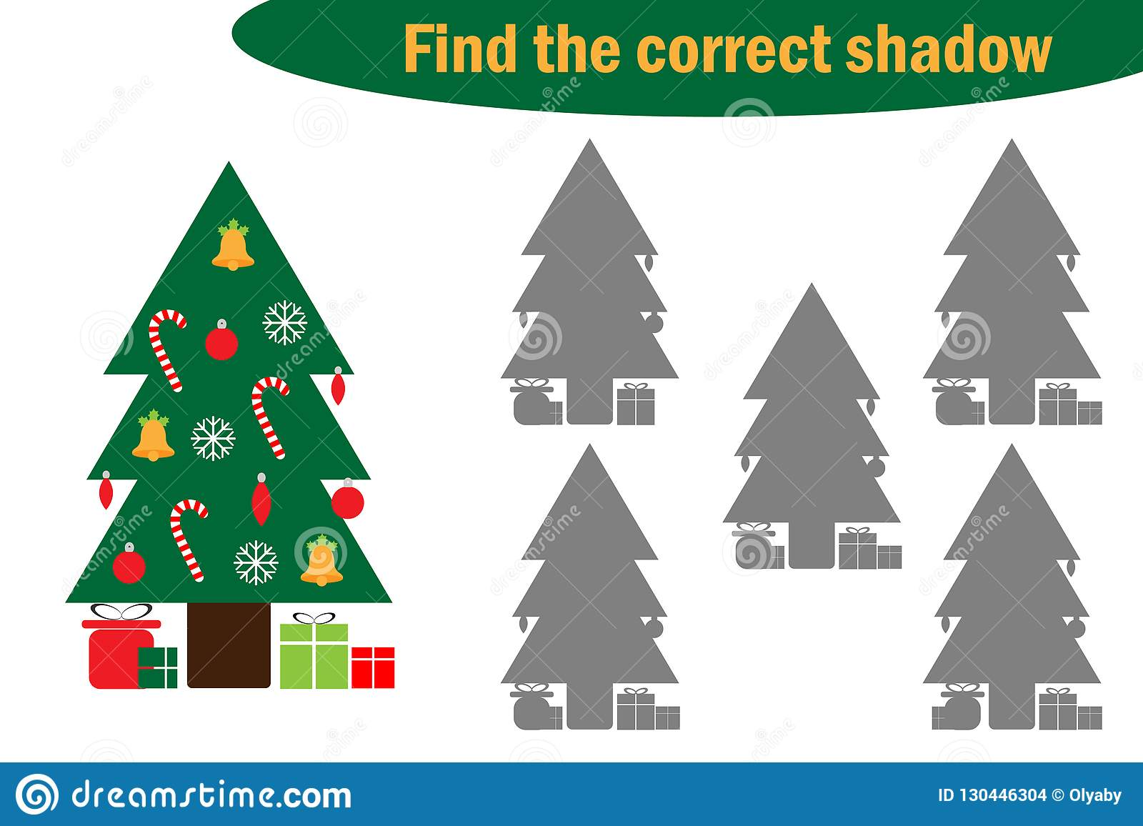 Find The Correct Shadow Game For Children Christmas Tree