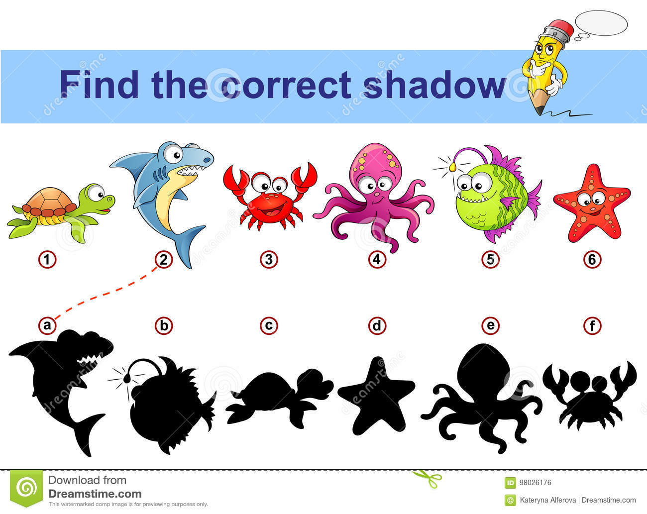 Find Correct Shadow Kids Educational Game Sea Animals