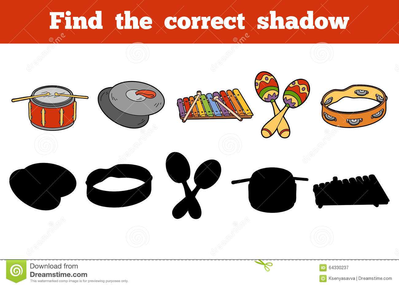 Find The Correct Shadow Musical Instruments Stock Vector