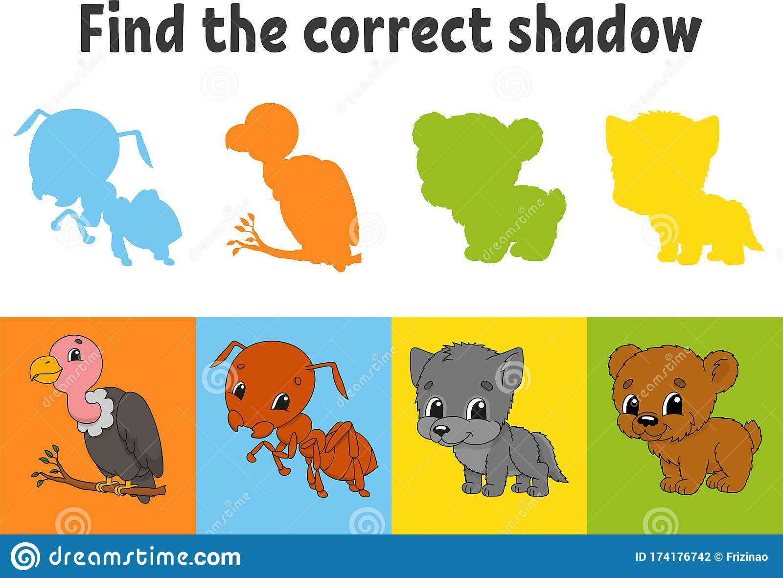 Find The Correct Shadow Vulture Ant Wolf Bear