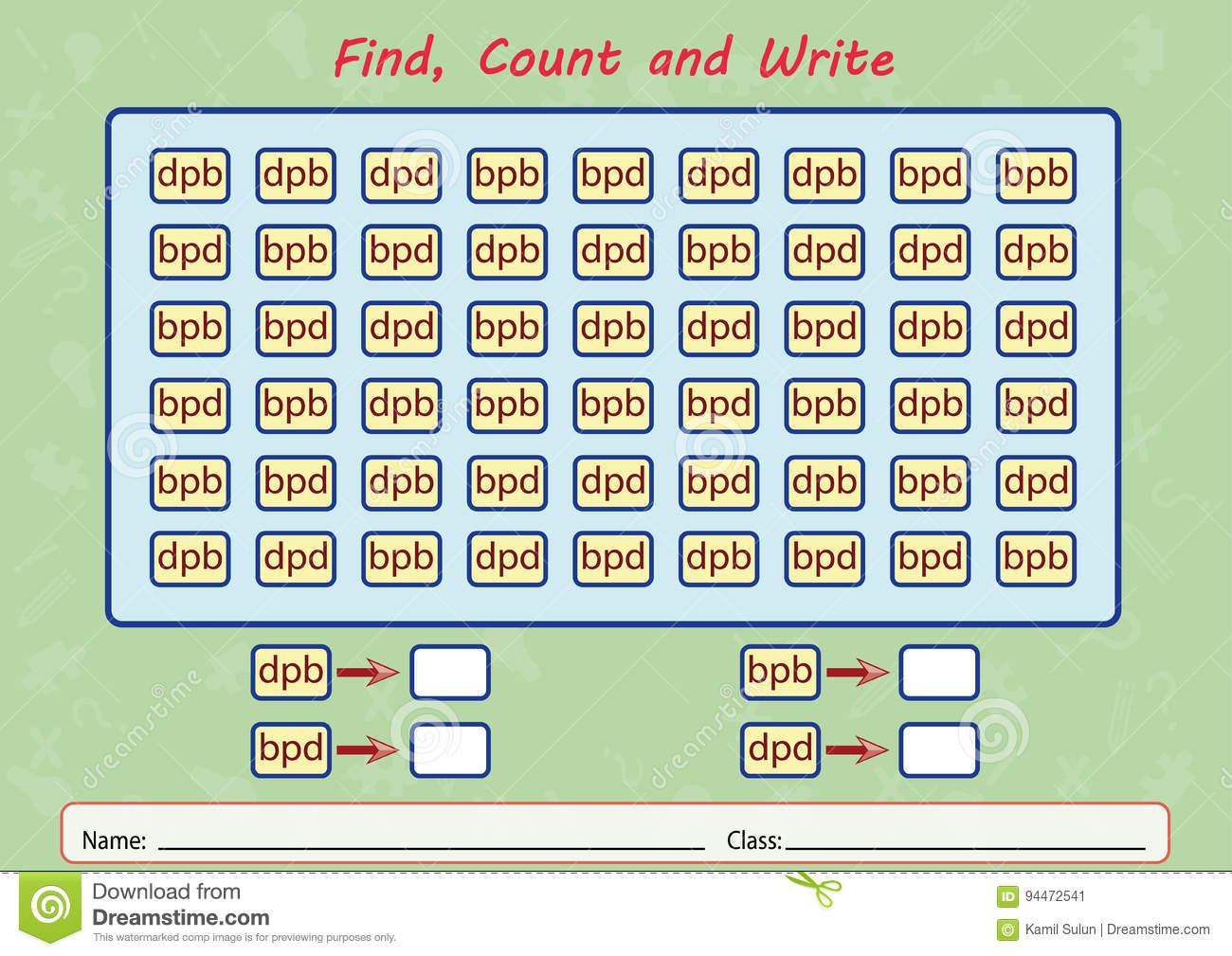 Find Count And Write Worksheet For Kids Stock