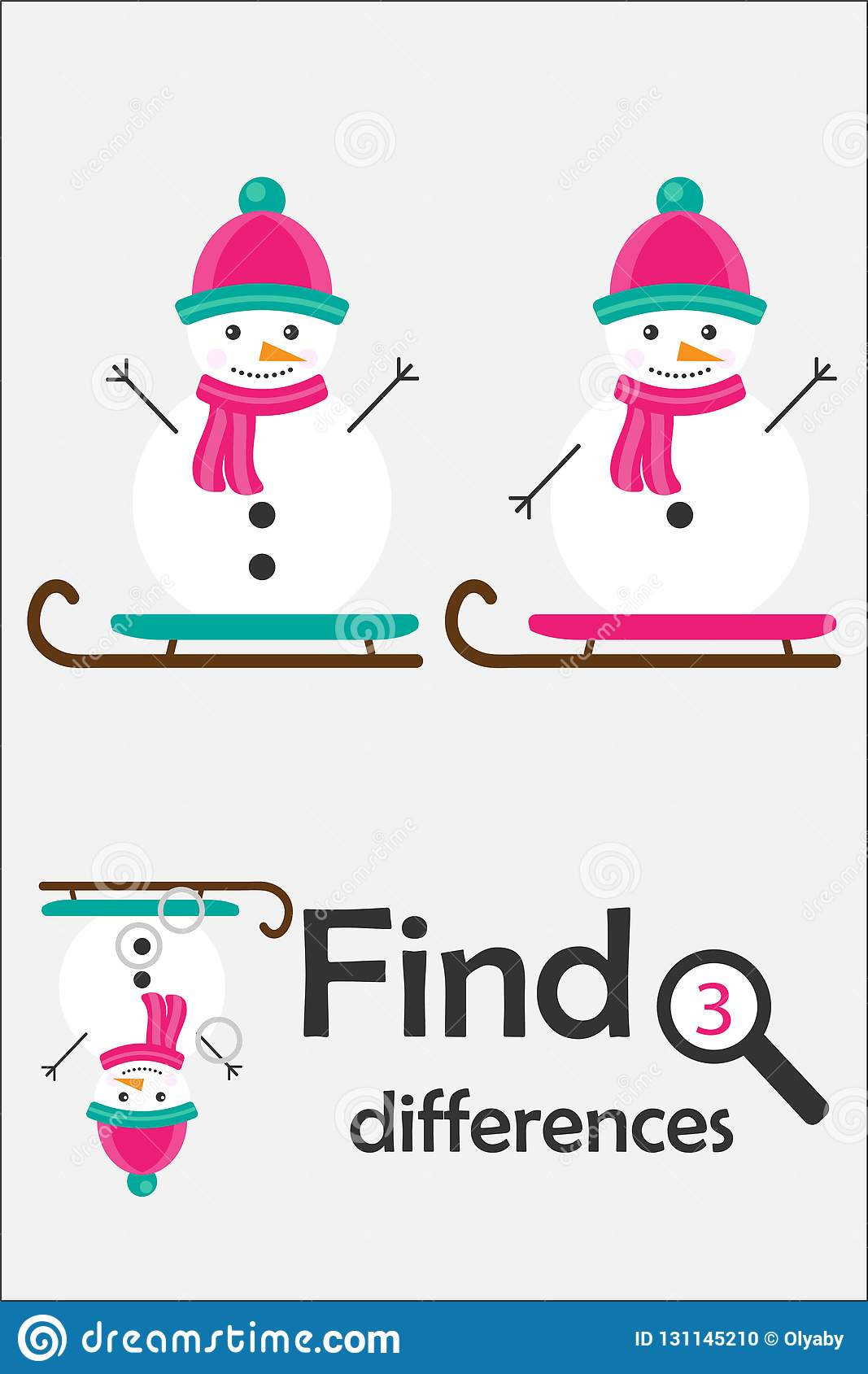 Find 3 Differences Christmas Game For Children Snowman