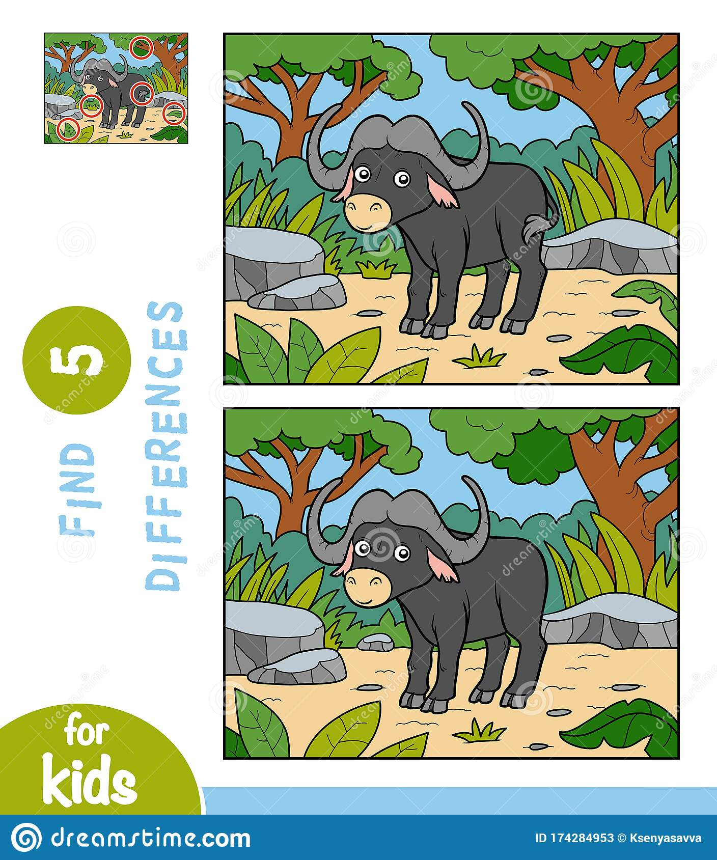Find Differences Education Game For Children Buffalo In