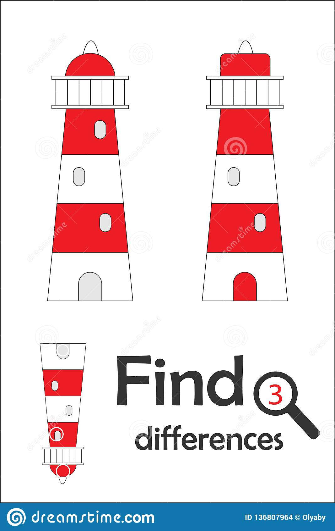 Find 3 Differences Game For Children Lighthouse In