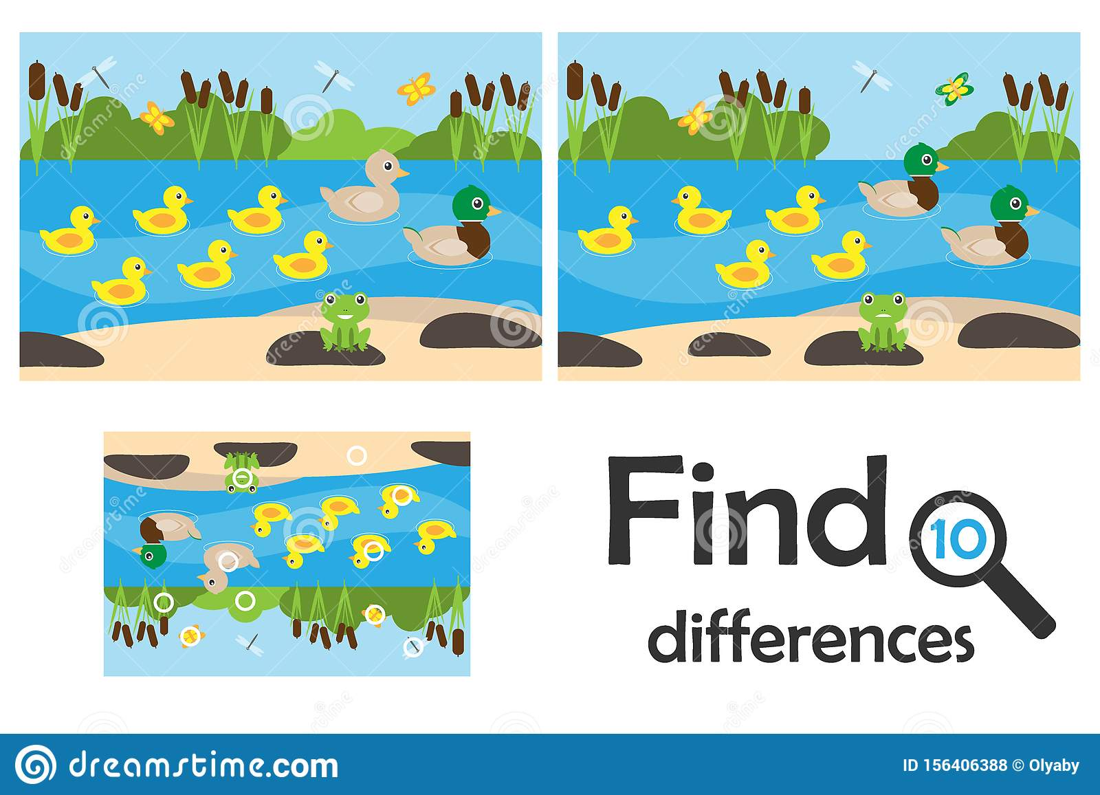 Find 10 Differences Game For Children Pond With Ducks