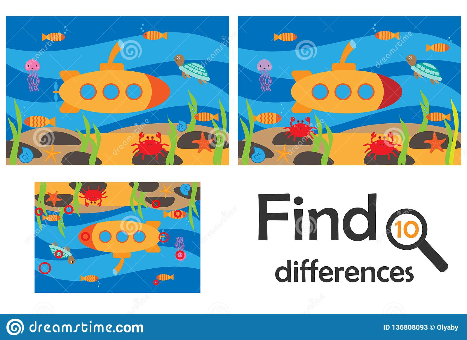 Find 10 Differences Game For Children Sea World