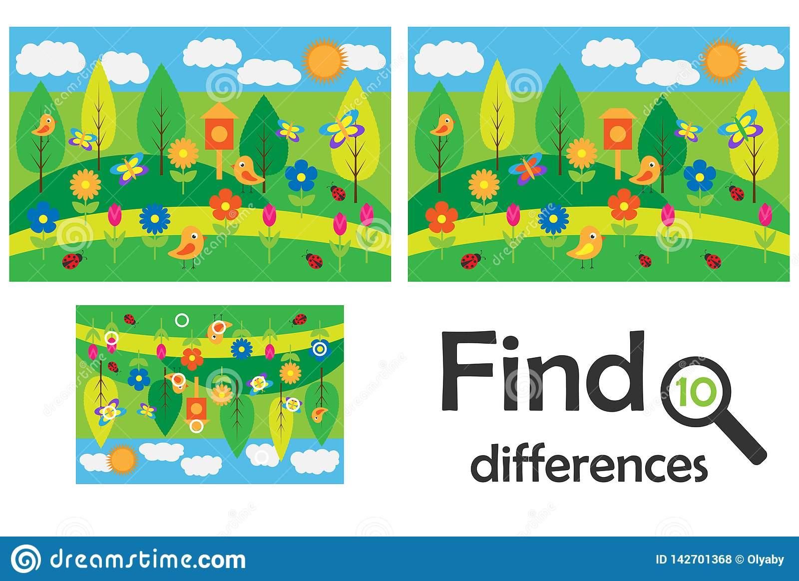 Find 10 Differences Game For Children Spring Cartoon