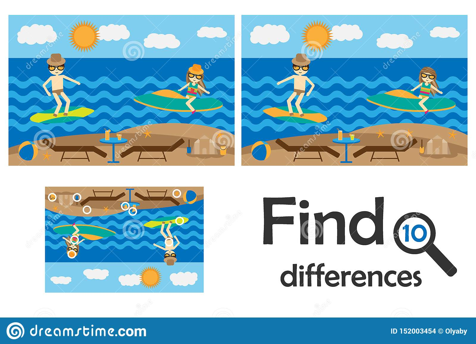 Find 10 Differences Game For Children Summer Beach With