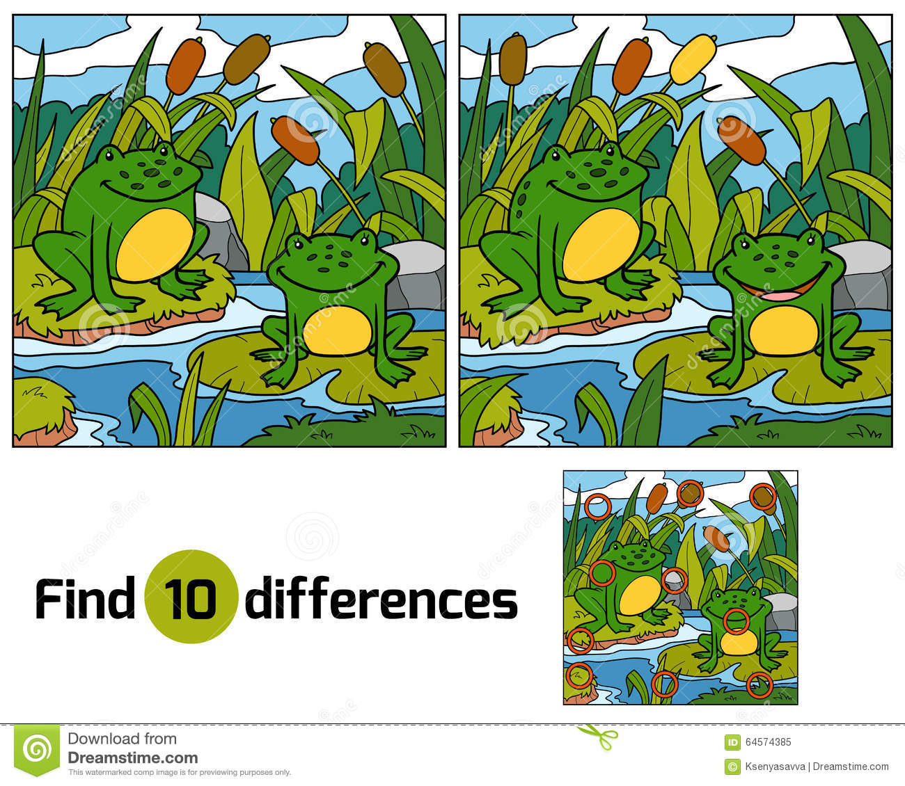 Find Differences Game For Children Two Frogs And