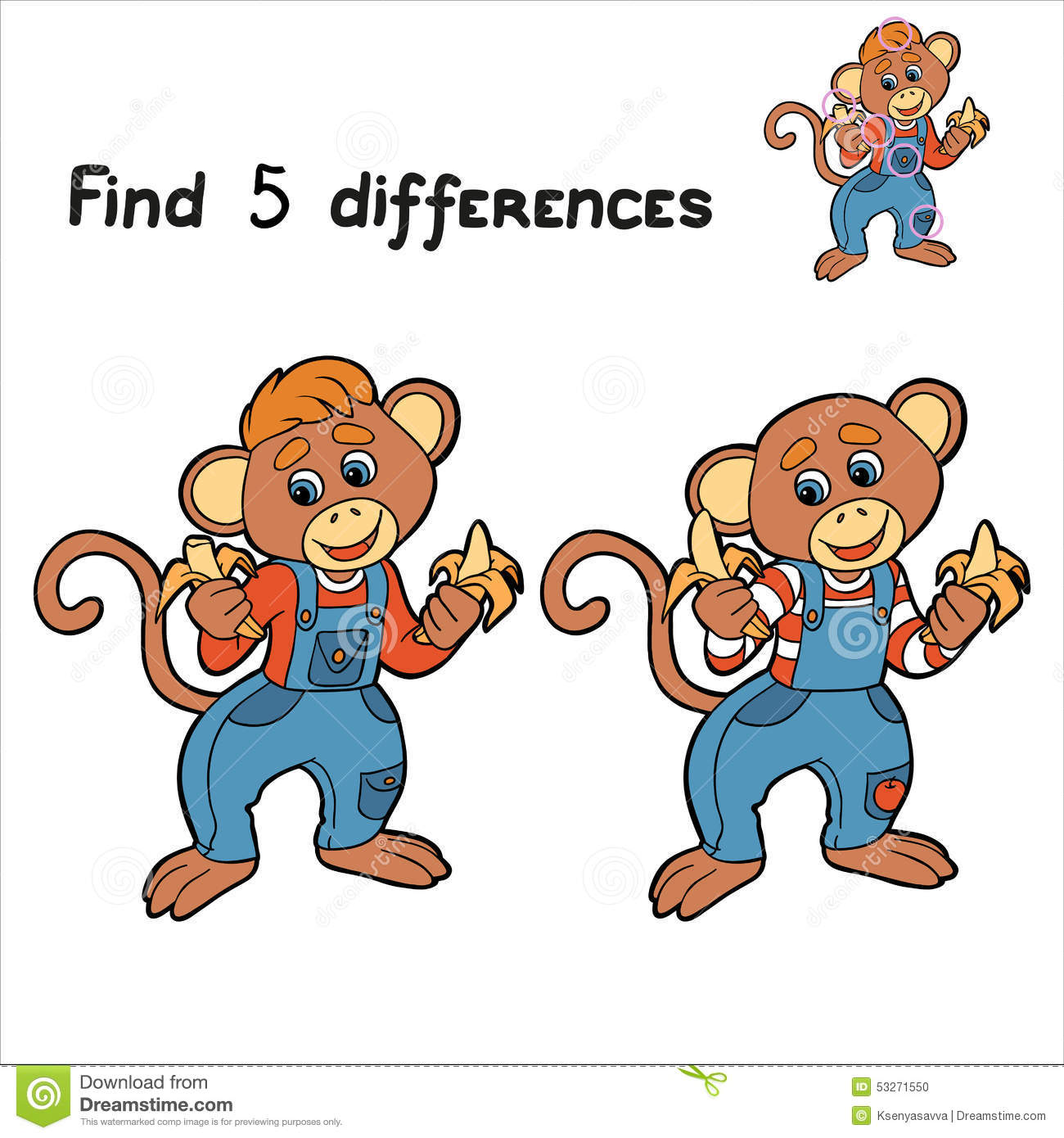 Find 5 Differences Monkey Stock Vector