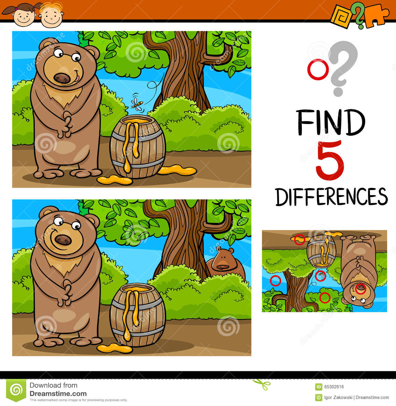 Find Differences Task For Kids Stock Vector