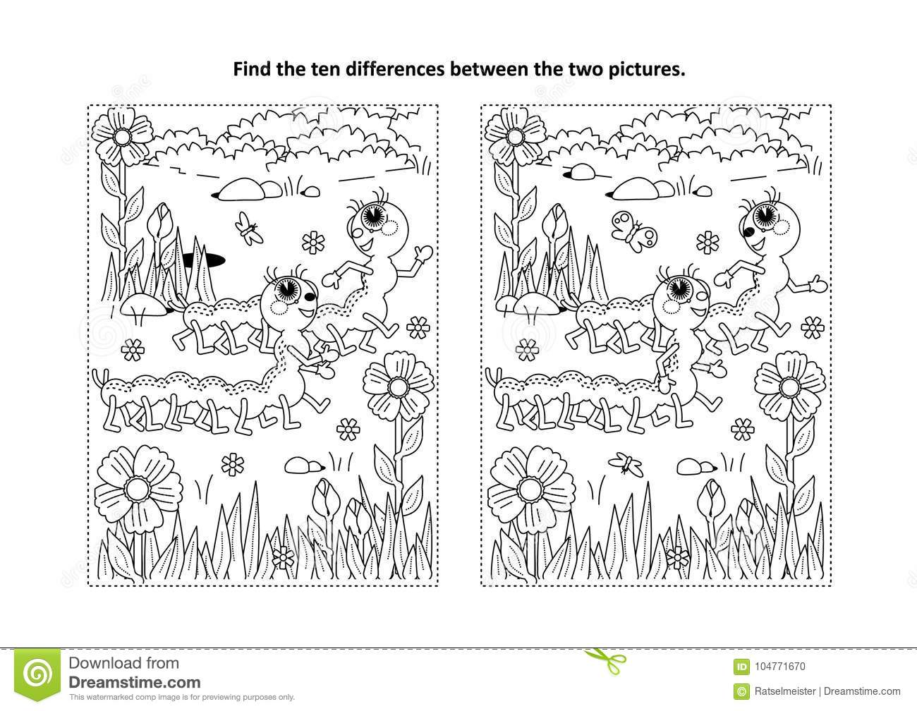 Find The Differences Visual Puzzle And Coloring Page With Two Cute Caterpillars Stock Vector