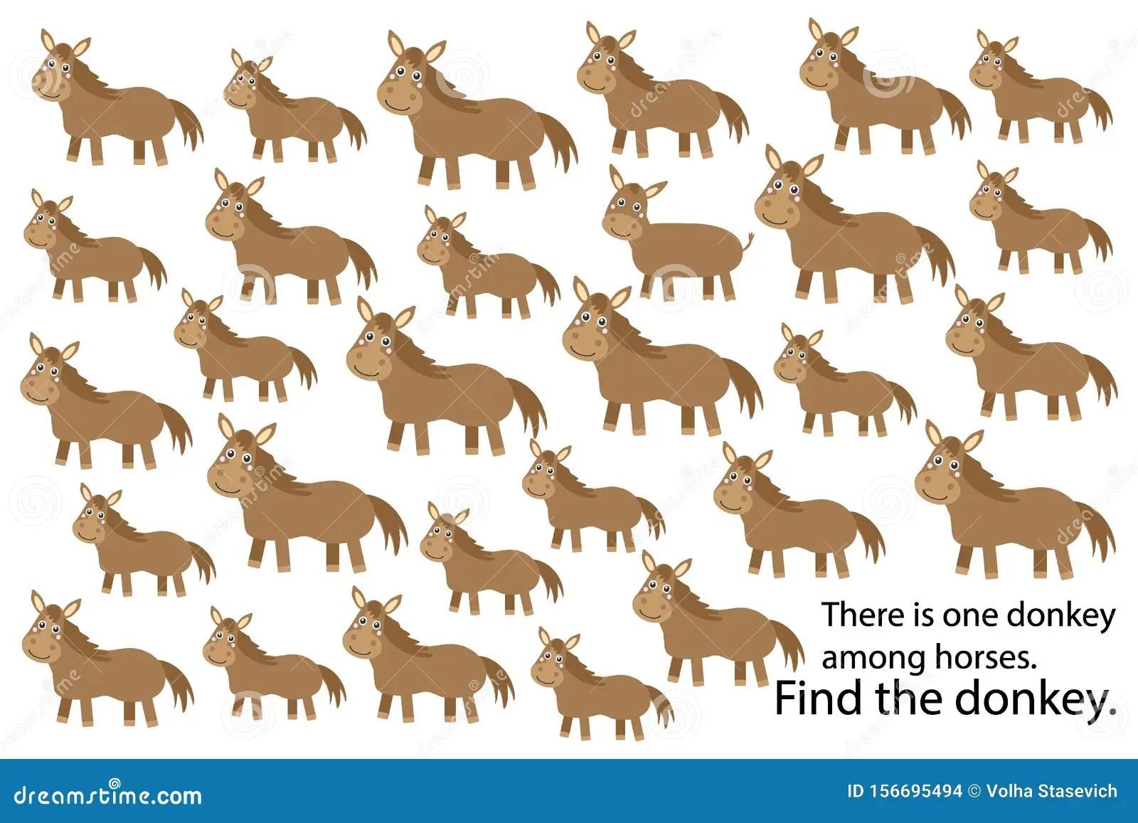 Find Donkey Among Horses Education Puzzle Game For
