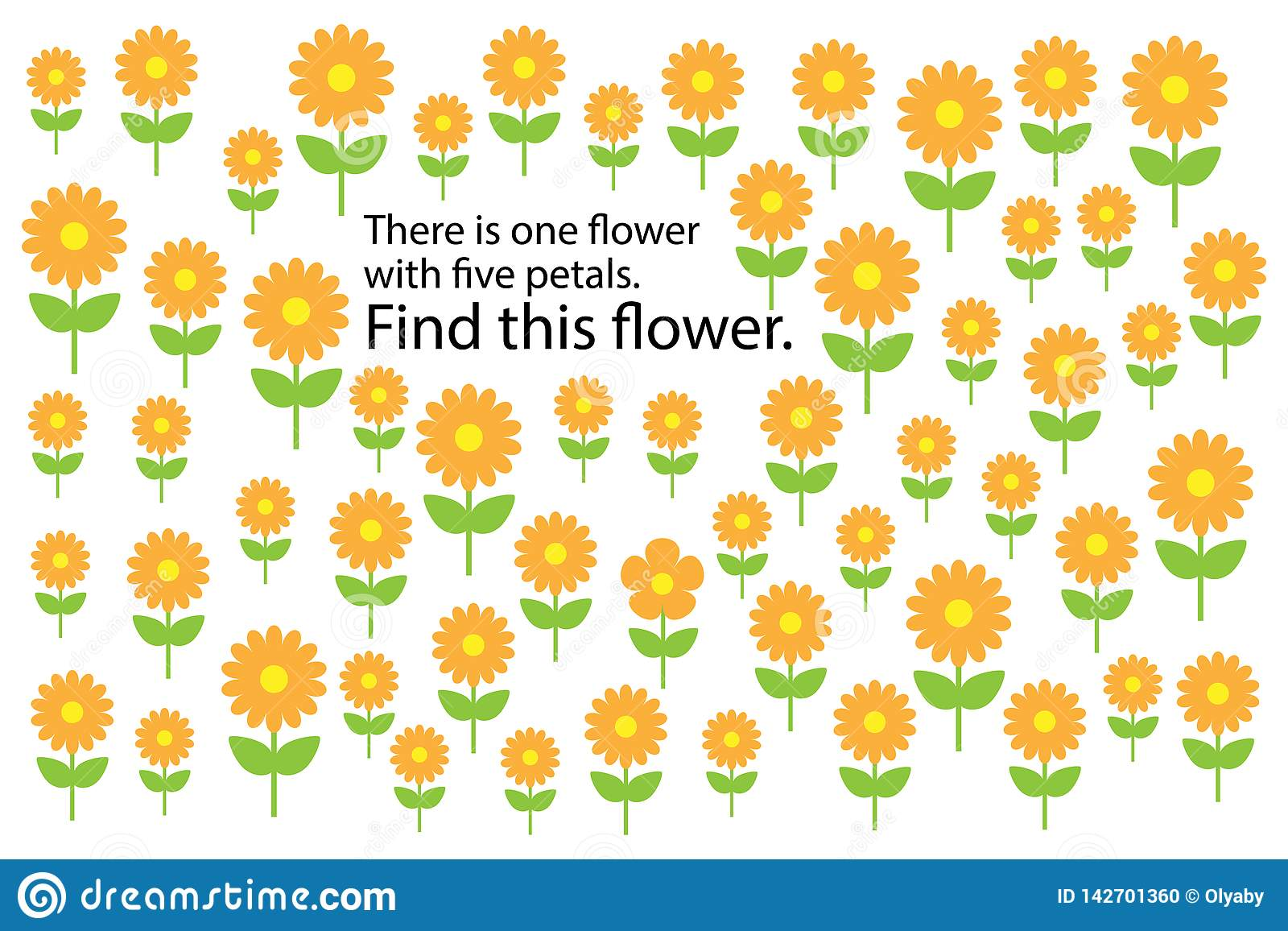 Find Flower With 5 Petals Spring Fun Education Puzzle