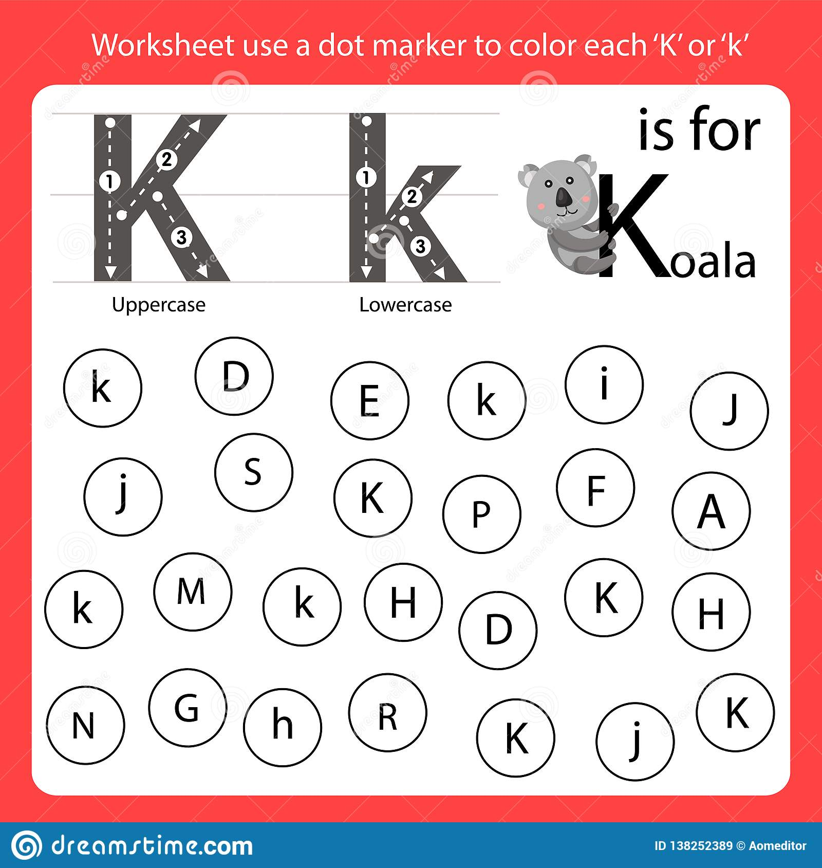 Find The Letter Worksheet Use A Dot Marker To Color Each K
