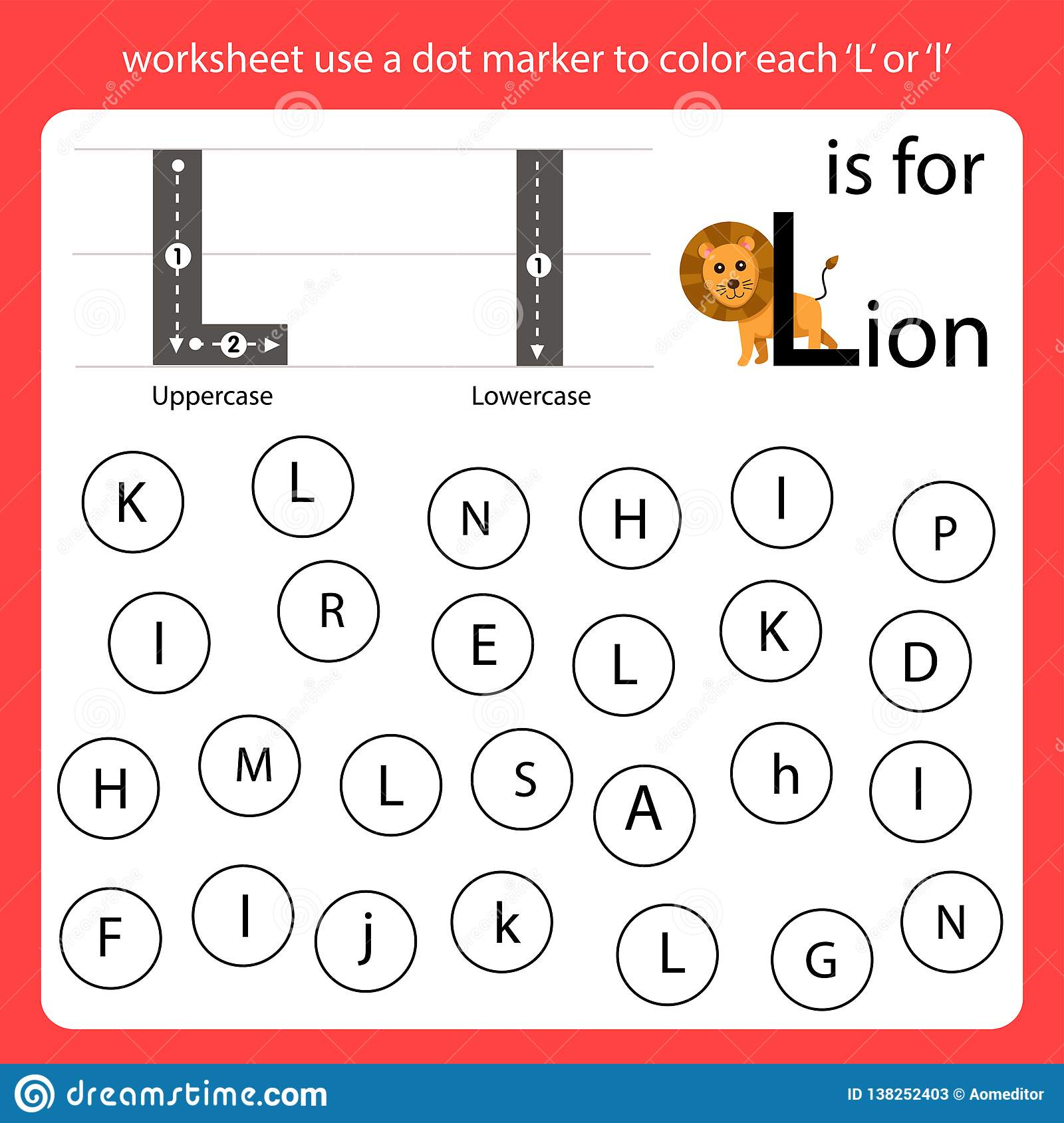 Find The Letter Worksheet Use A Dot Marker To Color Each L