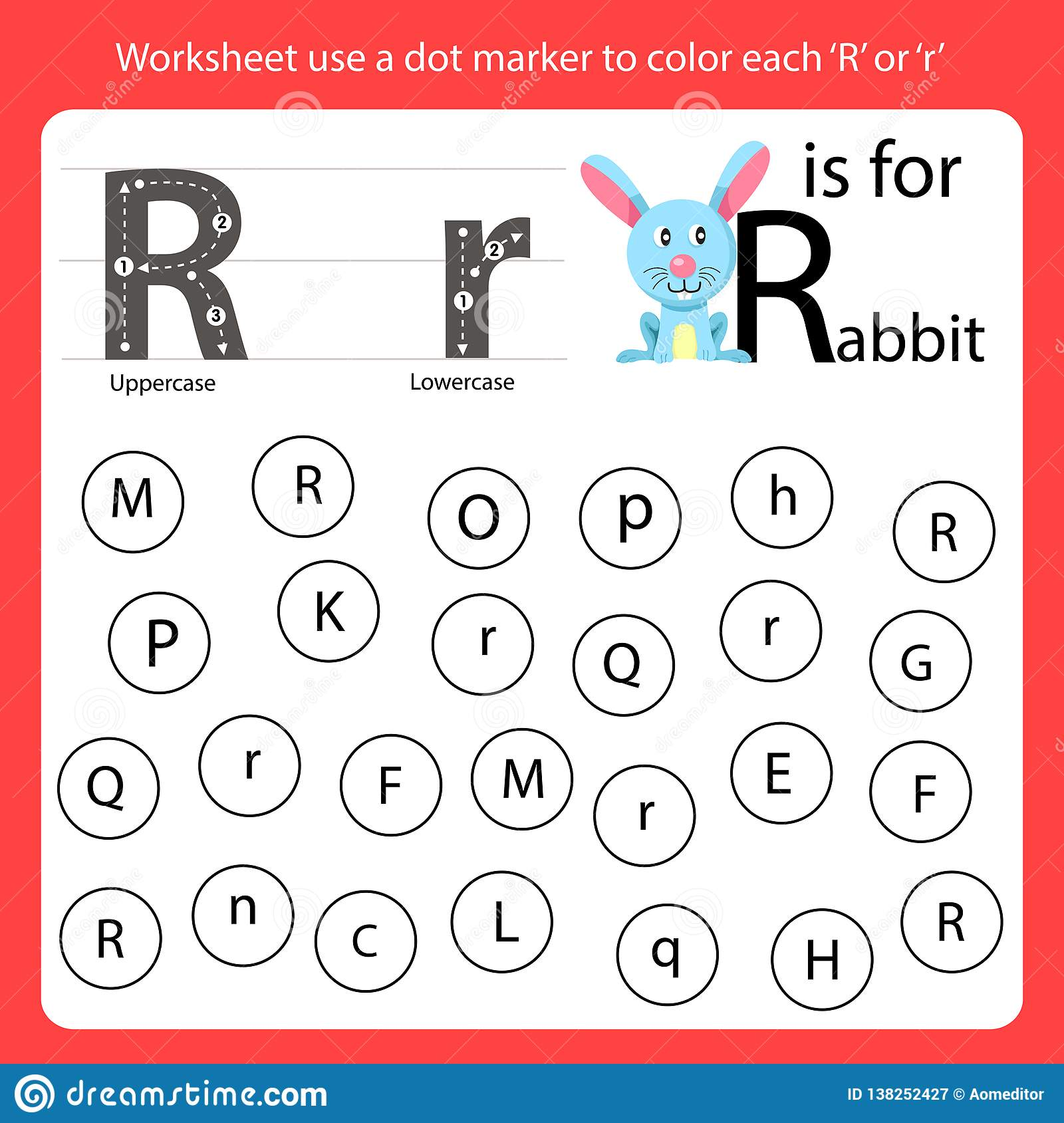 Find The Letter Worksheet Use A Dot Marker To Color Each R