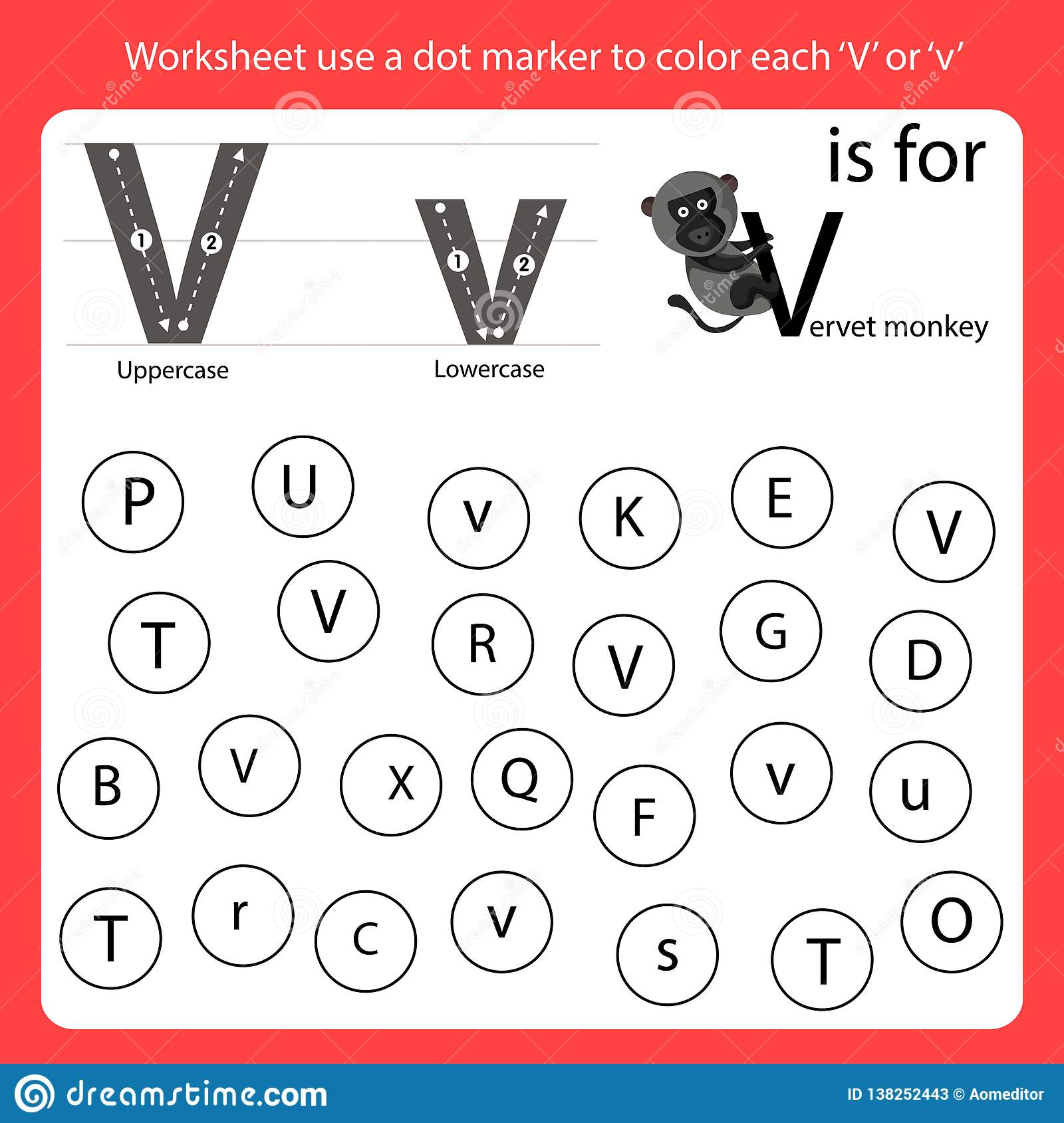 Find The Letter Worksheet Use A Dot Marker To Color Each V
