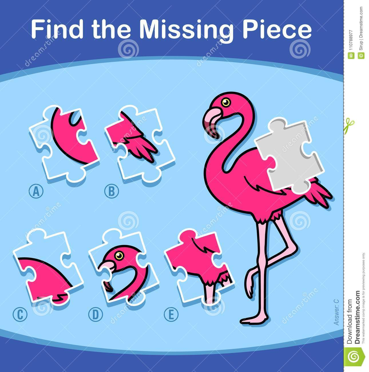 Find The Missing Piece Flamingo Puzzle For Kids Stock