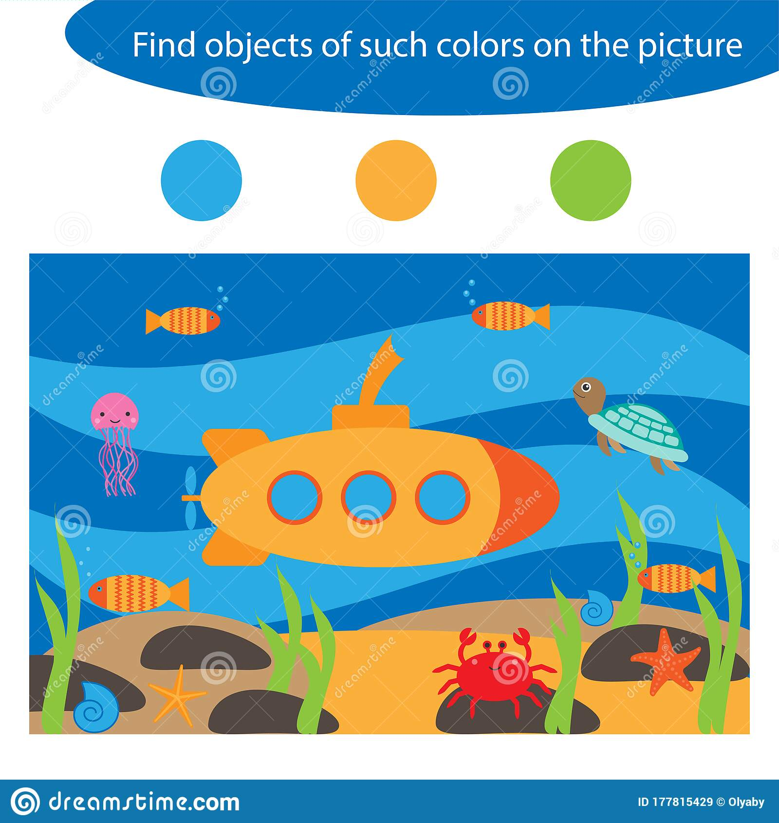 Find Objects Of Same Colors Underwater Game For Children