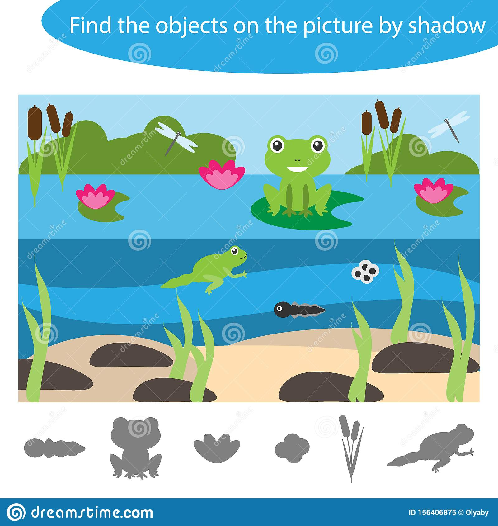 Find The Objects By Shadow Game For Children Pond With