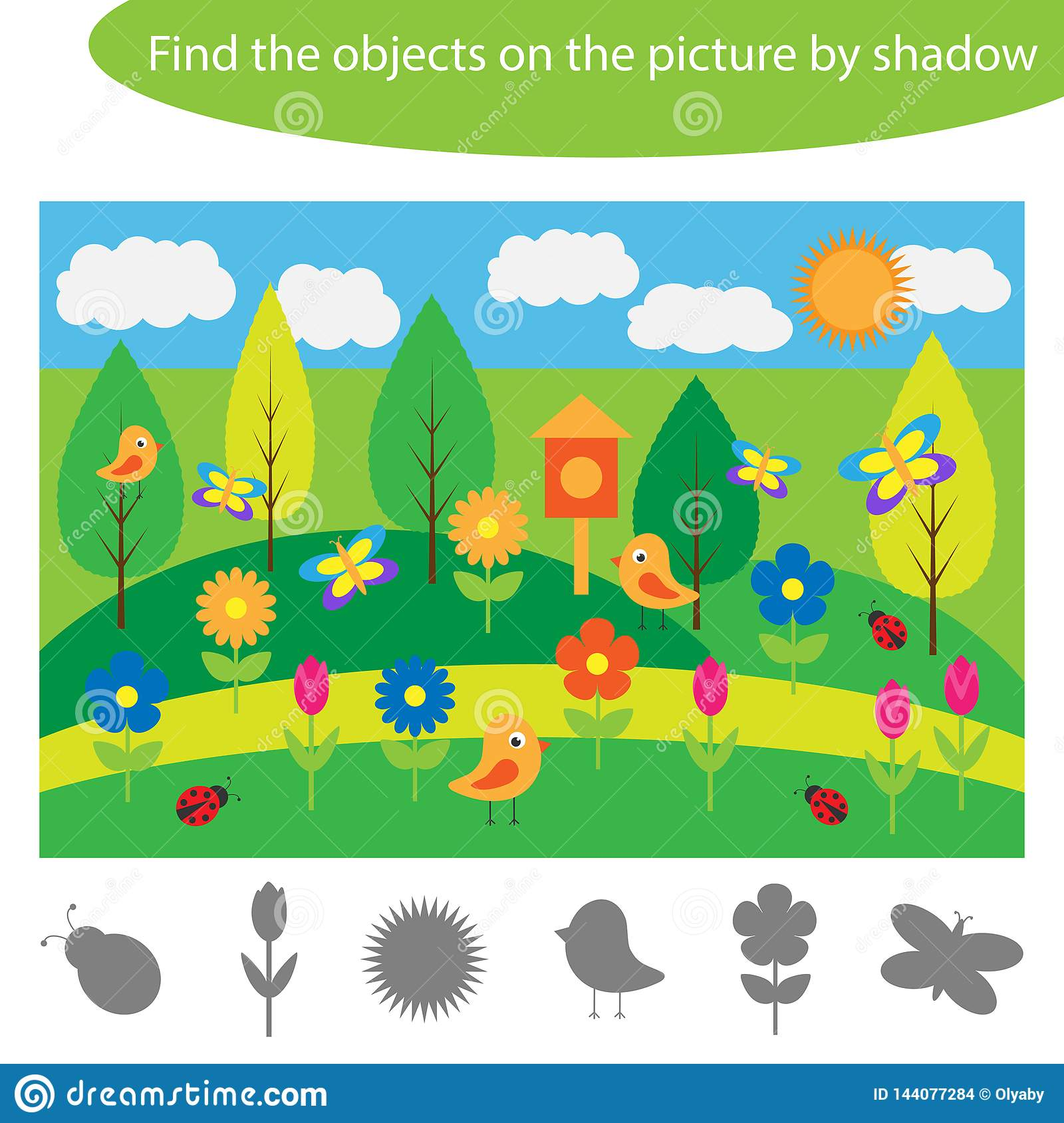 Find The Objects By Shadow Summer Game For Children In
